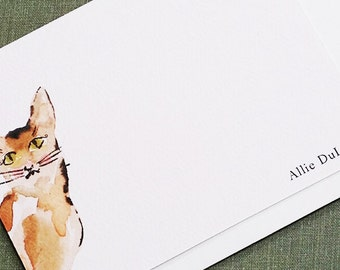 Watercolor Cat Personalized Flat Notes Style Set of 15