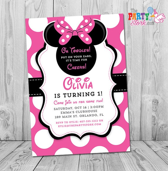 Minnie mouse 1st birthday invitations printable girls party filmwisefo Images