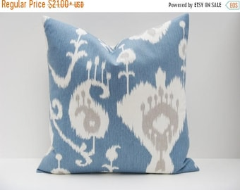 15% Off Sale Euro  PILLOW,Blue decorative pillows , ikat pillow cover Couch  Euro Sham  Covers Blue Pillow  PICK SIZE Oversized Pillow Cover