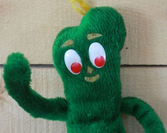 70s Gumby plush, Gumby stuff toys, Gumby and Pokey, 60s tv show, Gumby toy, Vintage plush, Christmas gift, Kids gift, 60s kids