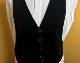 Vintage Reversible Black Velvet & Grey Backless Tuxedo Vest from the 1970's hDQYjRm1w