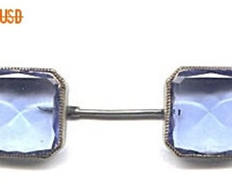 Double Side Faceted Blue Glass Ascot Pin  ITEM NO: 11930