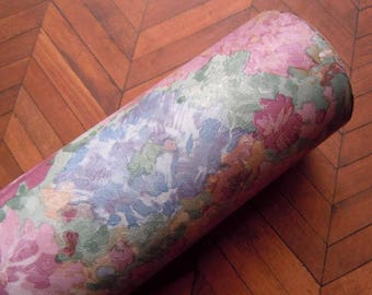 11 Yds Vintage 1980's Vinyl Wallpaper Roll Pink Purple Green Watercolor Floral Design Flower Pattern