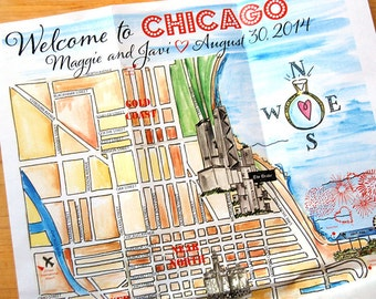 Hand Drawn Illustrated Map, Chicago Watercolor Wedding Map, Guest Bag Welcome Map, Wedding Weekend Itinerary, Hand Painted
