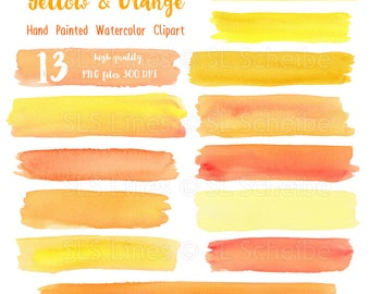Yellow Orange watercolor stripes & headers, watercolor clipart rectangles in yellow-orange, graphic PNG files, instant download