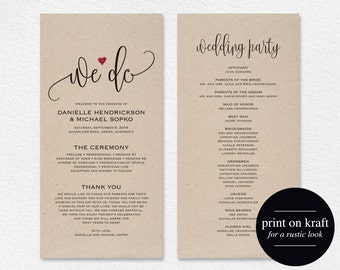 Wedding Program Editable Template, We Do Wedding Program Printable, Ceremony Printable, Wedding Printable, PDF Instant Download #BPB234_3
