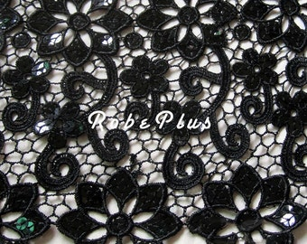 Black Lace fabric-Floral Chemical Lace  - Premium Heavy Lace - Black Floral Lace Fabric-L18