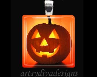 JACK O LANTERN Halloween Fall Autumn Pumpkin Glass Tile Pendant Necklace Keyring