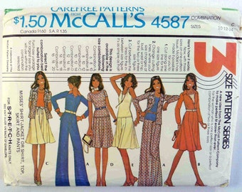 1970s Wardrobe Sewing Pattern - Shirt-Jacket-Top-Skirt & Pants - McCall's 4587 Sizes 10-12-14 - 1970s Outfit - 1970s Clothing -1970s Apparel