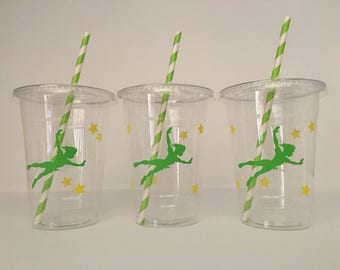 Peter Pan Party cups, Peter pan Birthday party cups, Peter Pan Party Favors