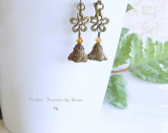 Brass Earrings Bronze Daisy Flowers Czech Glass Bell Flowers Swarovski Crystals Flower Earrings Trending Earrings