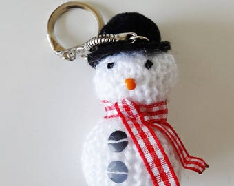 Snowman key ring - handcrafted
