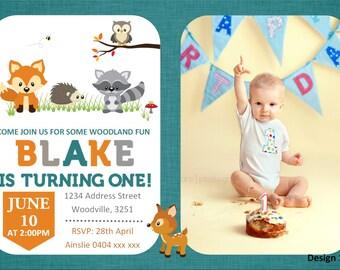 Woodland First Birthday Invitation - Fox Invitation - Woodland Creatures Invitation