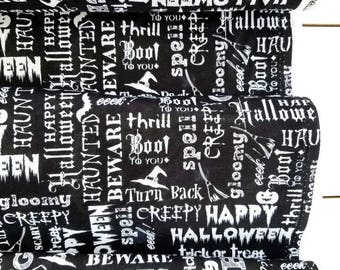 Eat Drink and Be Scary - Text(Black Background) - Whistler Studios - Windham Fabrics