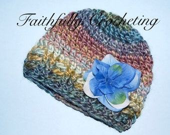 Newborn Hat with Removable Flower hair clip..... Photography Prop.. Ready to Ship