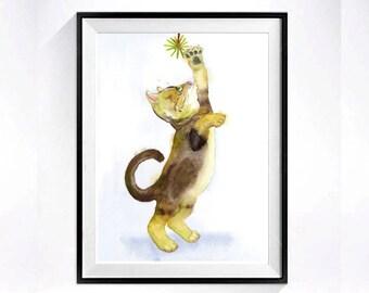 Original Cat Art, Original, Kitty Painting, Watercolor art, Brown cat, Abyssinian Cat, Exotic Short hair,  Kitten painting, LaBerge 8.5 x 14
