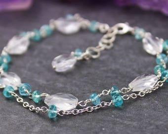 SALE Quartz Crystal Bracelet, Blue Apatite Bracelet, Gemstone Rosary Chain Bracelet, Blue Multi Strand Bracelet, Sterling Silver