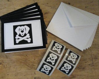 Gift Box Set of 5 Note Cards, Envelopes & Stickers w/ Dog and Crossbones design