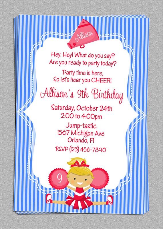Custom Cheer Cheerleading Party Birthday Invitations DIY