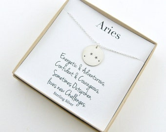 Aries Zodiac Gift, Constellation Necklace, Birthday Gift, 12 Zodiac Signs Necklace, Gold zodiac Necklace, Astrology Necklace, Zodiac Sign