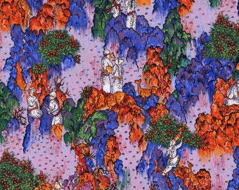 The Persion Collection Fabric By Woodrow Studio London, Blue and Orange,By The Half Yard, Fabric Destash