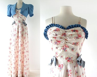 Vintage 1930s Gown | Jezebel | 30s Floral Dress | Dress with Jacket | XS S