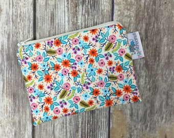 Reusable Snack Bag, Reusable Zipper Bag, Reusable Sandwich Bag, Zipper Pouch, Reusable, Tiny Floral Snack Bag, Lunch Bag, Reusable Bag