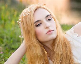 Leaf Hair Vine, Golden Leaf Hair Vine, Grecian Hair Accessory, Pearl Wreath Headband, Ivy Hair Crown