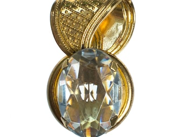 Gold Dress Clip with Headlight Topaz Crystal Rhinestone