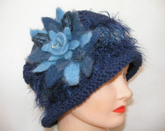 Knitted Blue Hat, Blue Hat with Needle Felted Flower and Band, Navy Blue Knitted Hat,