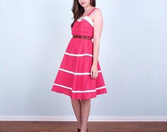 Pink & White Polka Dot Dress / Hot Pink 80's Summer Dress / Medium