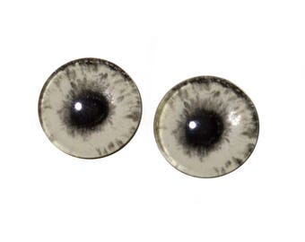 Glow in the Dark Eyes - 16mm Glass Eyes - Zombie Human Eyes - Peel and Stick Adhesive Backing - For Art Dolls, Jewelry Making, Taxidermy