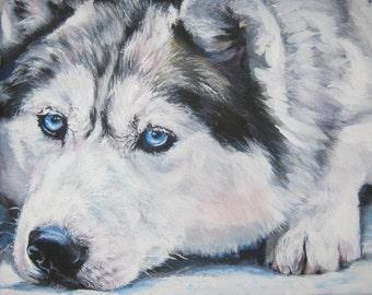 Siberian Husky dog art portrait CANVAS print of LA Shepard painting 11x14