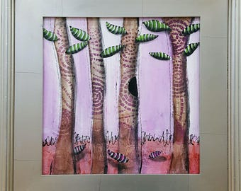 Original Mixed Media Painting of Whimsical Trees for Nursery Childs Room