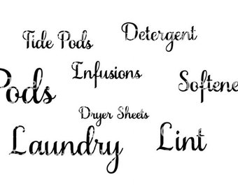 Laundry Decals - Pods, Infusions, Tide Pods, Detergent, Softener, Dryer Sheets, Laundry, Lint, Fabric Softener
