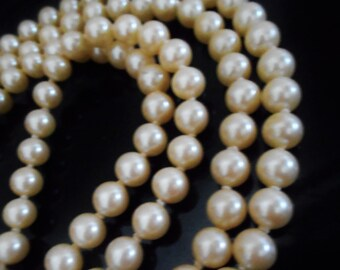 40% OFF SALE! Vintage Double Strand Ivory Pearl Necklace...46 Inch Vintage Hand Knotted Mid Century Double Strand Ivory Glass Pearl Necklace