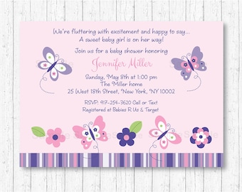 Cute Butterfly Baby Shower Invitation / Butterfly Baby Shower Invite / Pink Butterfly / Purple Butterfly / Baby Girl Shower / PRINTABLE A248