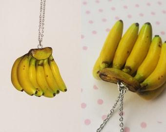 Banana Bunch Necklace - Fruit Jewelry - Fruit necklace - Miniature Food Jewelry