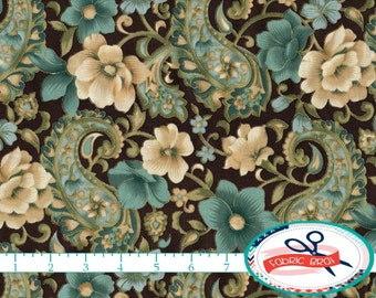 TEAL & BROWN FLORAL Fabric by the Yard, Fat Quarter Gold Metallic Fabric Teal Fabric Paisley Fabric 100% Cotton Fabric Quilting Fabric t1-18