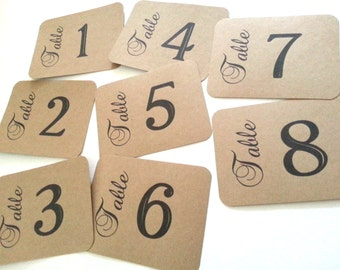 Very Simple Wedding / Reception / Table Numbers / Cards on Kraft Paper- Set of 8
