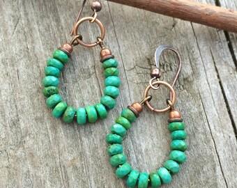 Turquoise Earrings, Genuine Turquoise Earrings, Copper Jewelry, Turquoise Hoop Earrings, Southwestern Turquoise Jewelry, Gift for Women,
