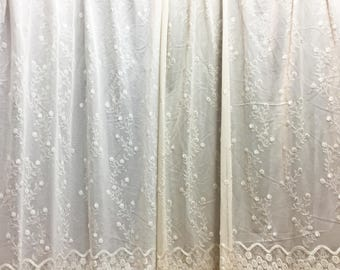 Sheer Fabric - Polyester Patterned Sheer Panel - White or Champagne Sheer  - Decorative Shaped Hem  - Singed Flower Fabric - P10 - 1 Panel