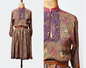 Vintage 70s Dress 70s Midi Asian FLORAL Bird Bohemian KEYHOLE 1970s Boho Hippie Purple Brown Hippy Festival Long Sleeve Medium m