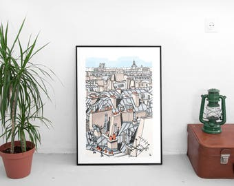 Poster graphic design poster architecture illustration the rooftops of Paris rooftops