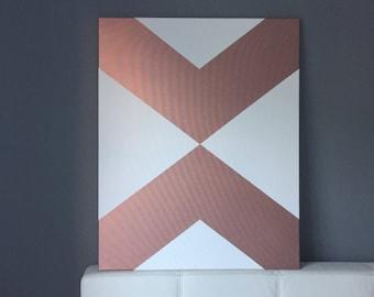 Roségoldene, geometric arrows on canvas