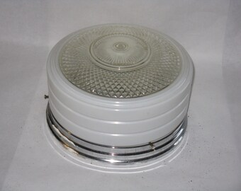 Mid Century Modern kitchen ceiling light fixture clear & white glass chrome