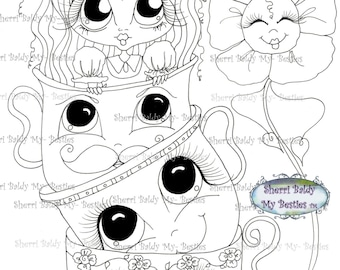 INSTANT DOWNLOAD Digital Digi Stamps Big Eye Big Head Dolls Img165 Alice In The Looking Glass Bestie By Sherri Baldy