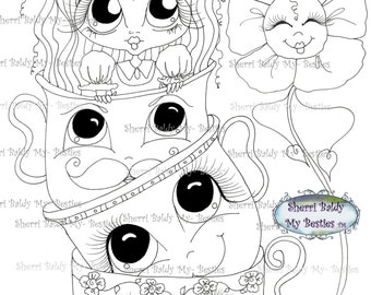 INSTANT DOWNLOAD digitale Digi Stamps Big Eye Big hoofd poppen Img165 Alice In het kijkglas Bestie door Sherri Baldy