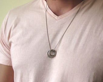 Mens Karma Necklace , Mens Necklace , Circle Necklace , Mens Jewelry , Ring Necklace , Necklace For Men , Silver Necklace , Guy Necklace