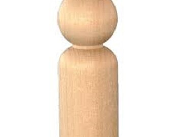 Wood Standard Peg People, natural peg toy, Peg Doll, Unfinished peg people, Standard Peg Doll, plain wood peg, wood peg blank, man wood peg